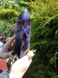 "Fluorite Crystal Quartz Large 1 lb. 10 oz. Generator ~ 6"" Tall ~ Swirling Purple Rainbow Colors ~ Reiki, Altar, Meditation ~ Fast Shipping"