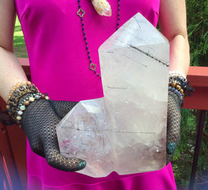 "Tourmaline Clear Quartz Crystal Large 9 Lb. 7 oz. Generator ~ 8"" Tall Tower Pillar ~Black Phantom ~Tourmilated Hairs ~ Sparkling Inclusions"