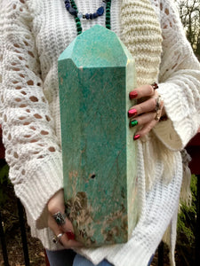 "Amazonite Gemstone Crystal Large 18 Lb. 15 oz. Generator ~ 14"" Tall ~ Natural Polished Point ~ Beautiful Mineral Specimen ~ Fast Shipping"