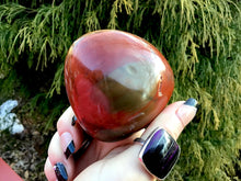 "Load image into Gallery viewer, Bloodstone Polished 8 oz. Palm Stone ~ 3"" Long ~ Beautiful Jasper Red, Green and White Colors ~ Perfect for Meditation, Altar, Grids, Reiki"
