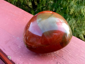 "Bloodstone Polished 8 oz. Palm Stone ~ 3"" Long ~ Beautiful Jasper Red, Green and White Colors ~ Perfect for Meditation, Altar, Grids, Reiki"