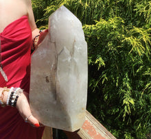 "Load image into Gallery viewer, Clear Quartz Crystal Large 34 lb. Generator ~ 15"" Tall ~ Big Tower, Pillar ~ Stunning Silver Inclusions ~ Ancient Sand Phantom Inclusions"