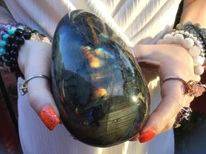 "Labradorite Large 2 lb. 5 oz. Egg ~ 5"" Tall ~ Ultra Flashy Natural Specimen ~ Swirling Blue & Gold Colors  ~ Altar, Reiki ~ Fast Shipping"