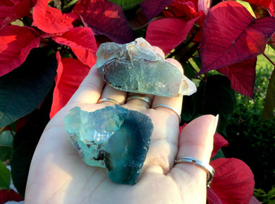 "Fluorite Crystal Duo 4.4 oz. ~ 2 1/2"" Long ~ Translucent Amazing Deep Sea Blue Color ~ Green Glowing Inclusions ~ Gem Quality Display"
