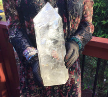 "Load image into Gallery viewer, Clear Quartz Crystal Large 8 lb. 6 oz. Generator ~ 11 1/2"" Tall ~ White Swirling Inclusions ~ Free Standing Pillar ~ Free & Fast Shipping"