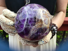"Load image into Gallery viewer, Amethyst Purple Large 4 Lb. 12 oz. Crystal Ball ~ 4"" Wide ~ Stunning Violet Chevron Stalactite ~ Beautiful Altar Décor, Feng Shui Display"