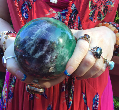 "Purple & Green Fluorite Quartz Large 3 Lb. 10 oz. Crystal Ball ~ 4"" Wide ~ Massive Polished Sphere ~ Big Beautiful Reiki, Altar Display"