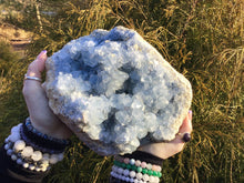 "Load image into Gallery viewer, Blue Celestite Crystal Quartz Large 13 lb. Cluster - 9"" Long ~ Stunning Quality - Huge Mineral Display - Sparkling Blue Clear Inclusions"