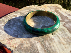 Malachite Bangle Bracelet 2.9 oz. Hand Made In African ~ Beautifully Polished Stone & Brass ~ Stunning Green Mineral Crystal Vintage Jewelry