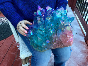 "Aura Quartz Crystal Large 34 lb. 15 oz. Cluster ~ 10"" Long ~ Angel Rainbow Colors ~ Red, Blue, Green ~ Magnificent Display ~ Fast Shipping"