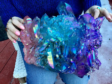 "Load image into Gallery viewer, Aura Quartz Crystal Large 34 lb. 15 oz. Cluster ~ 10"" Long ~ Angel Rainbow Colors ~ Red, Blue, Green ~ Magnificent Display ~ Fast Shipping"
