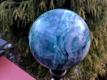 "Load image into Gallery viewer, Rainbow Fluorite Large 1 Lb. 7 oz. Crystal Ball ~ 2 1/2"" Wide Polished Sphere ~ Sparkling Purple & Green Colors ~  Reiki, Altar Display"