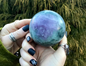 "Rainbow Fluorite Large 1 Lb. 7 oz. Crystal Ball ~ 2 1/2"" Wide Polished Sphere ~ Sparkling Purple & Green Colors ~  Reiki, Altar Display"