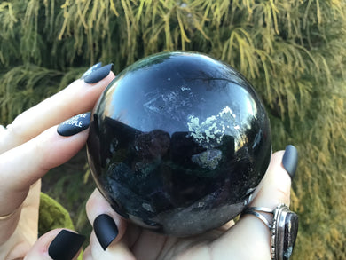 "Fluorite & Pyrite Large 1 Lb. 12 oz. Crystal Ball ~ 2 1/2"" Wide Sphere ~ Deep Green Color Inclusions ~ Big Beautiful Reiki, Altar Display"