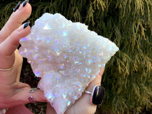 "Angel Aura Quartz Crystal Large 1 Lb. Cluster ~ 4"" Long ~ Electric Pearlescent White Rainbow Iridescent Sparkling Points ~ Reiki Altar"