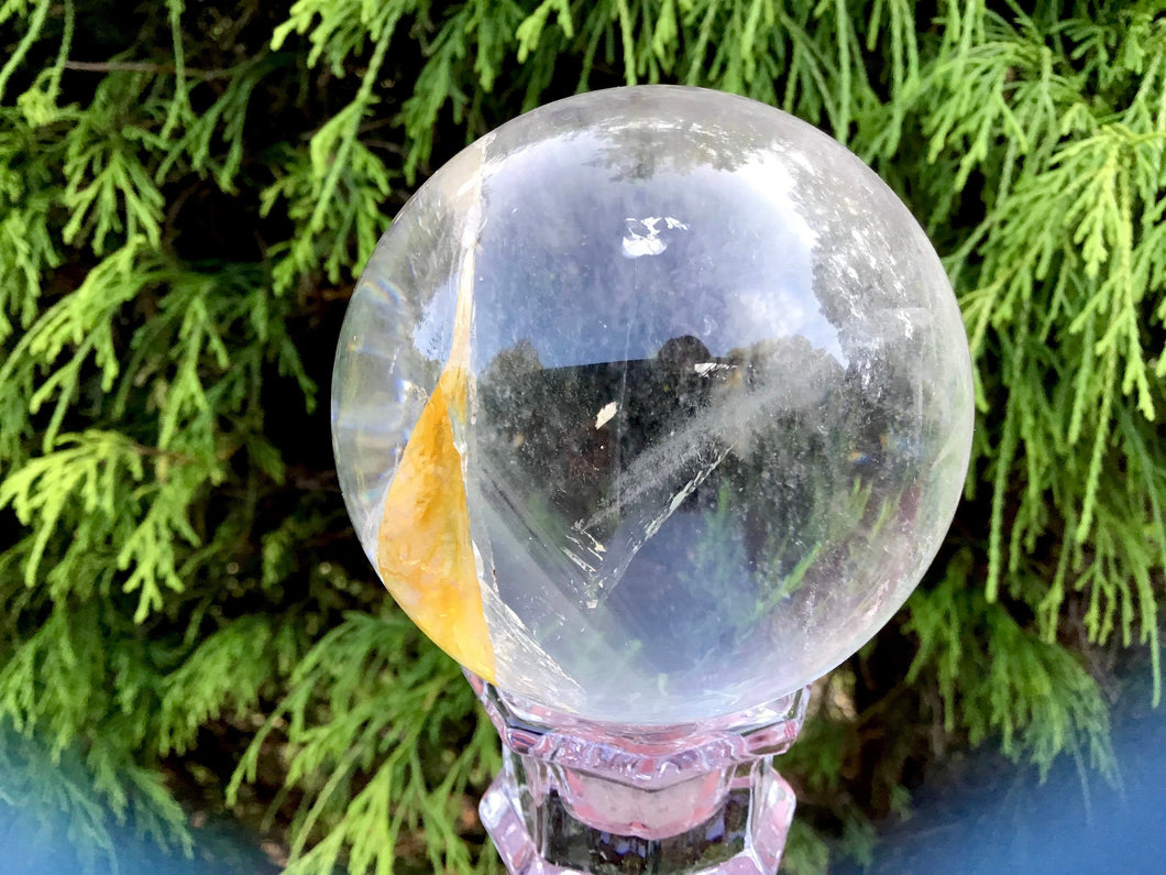 "Clear Quartz Large 1 Lb. Crystal Ball ~ 2 1/2"" Wide Sphere ~Golden Healer ~ Sparkling Silver Inclusions ~ Beautiful Display ~ Fast Shipping"