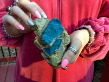 "Load image into Gallery viewer, Blue Apatite in Matrix 1 Lb. 2 oz. Palm Stone ~ 4"" long ~ Free Standing Crystal ~ Handheld Size ~ Gorgeous Gemmy Collector's Specimen"