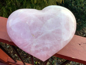"Rose Pink Quartz Crystal Large 4 lb. 6 oz. Heart ~ 8"" Wide ~ Love Stone ~ Juicy Pink, Translucent, Flashy Inclusions ~ Fast Free Shipping"