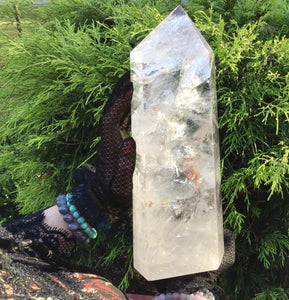 "Clear Quartz Crystal Large 8 lb. 6 oz. Generator ~ 11 1/2"" Tall ~ White Swirling Inclusions ~ Free Standing Pillar ~ Free & Fast Shipping"