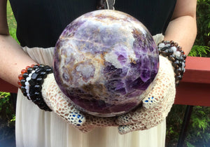 "Amethyst Purple Large 4 Lb. 12 oz. Crystal Ball ~ 4"" Wide ~ Stunning Violet Chevron Stalactite ~ Beautiful Altar Décor, Feng Shui Display"