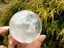 "Load image into Gallery viewer, Clear Quartz Big 15.3 oz. Crystal Ball ~ 2 1/2"" Wide Polished Sphere ~ Rainbow Inclusions ~ Reiki Altar Feng Shui Display ~ Fast Shipping"