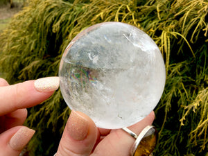 "Clear Quartz Big 15.3 oz. Crystal Ball ~ 2 1/2"" Wide Polished Sphere ~ Rainbow Inclusions ~ Reiki Altar Feng Shui Display ~ Fast Shipping"
