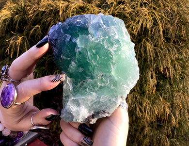 "Fluorite Crystal 3 Lb. 2 oz. Cluster ~ 5"" Long ~ Sparkling Rainbow Green & Blue Mineral Matrix ~ Ancient Clear Translucent Cubic Formation"