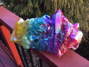 "Aura Quartz Crystal Large 9 lb. Cluster ~ 10"" Long ~ Massive Pink, Green, Yellow Rainbow Angel Colors ~ Centerpiece ~ Fast & Free Shipping"