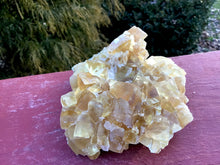 "Load image into Gallery viewer, Yellow Calcite Clear Crystal 7 oz. Cluster ~ 4"" Long ~ Deep Golden Translucent Crystals ~ Sacred Geometry Cubic Formation ~ Gem Quality"