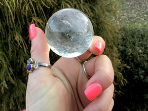 "Clear Quartz Large 4.7 oz. Crystal Ball ~ 1 1/2"" ~ Sphere Rainbow Inclusions ~ Beautiful Display Reiki Altar Feng Shui ~ Fast Free Shipping"