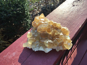 "Yellow Calcite Clear Crystal 8.3 oz. Cluster ~ 4"" Long ~ Deep Golden Translucent Crystals ~ Sacred Geometry Cubic Formation ~ Gem Quality"