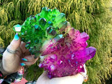 "Load image into Gallery viewer, Elestial Aura Quartz Crystal Large 3 Lb. 10 oz. Cluster ~ 6"" Long ~ Electric Purple And Green Colors ~ Rainbow Iridescent Sparkling Points"