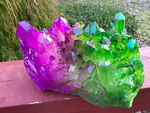 "Elestial Aura Quartz Crystal Large 3 Lb. 10 oz. Cluster ~ 6"" Long ~ Electric Purple And Green Colors ~ Rainbow Iridescent Sparkling Points"