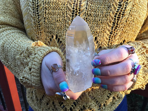 "Frosted Lemurian Crystal Quartz Point Large 11.6 oz. Wand ~ 5"" Long Ancient Striations Self Healed Key Hole ~ Beautiful Reiki, Altar Display"
