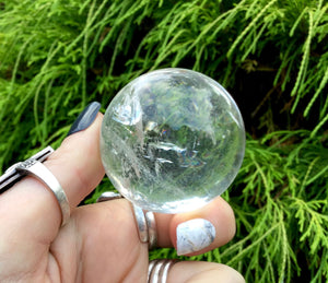 "Clear Quartz Big 3.8 oz. Crystal Ball ~ 1 1/2"" Wide Sphere ~ Sparkling Silver Inclusions ~ Beautiful Altar Feng Shui Display ~ Fast Shipping"