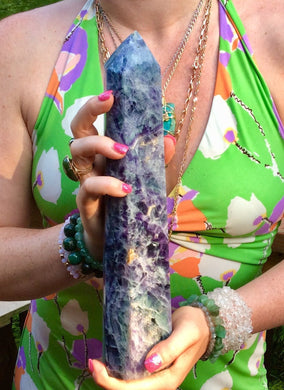 "Rainbow Fluorite Large 4 lb. Generator ~ 11 1/2"" Tall Polished Tower ~ Swirling Purple, Green, White ~ Big Free Standing Crystal Pillar"