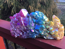 "Load image into Gallery viewer, Aura Quartz Crystal Large 9 lb. Cluster ~ 10"" Long ~ Massive Pink, Green, Yellow Rainbow Angel Colors ~ Centerpiece ~ Fast & Free Shipping"