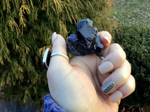 "Fluorite Crystal Large 1.9 oz. Cluster ~ 1 1/2"" Long ~ Deep Purple ~ Sparkling Mineral Matrix ~ Ancient Clear Translucent Cubic Formation"