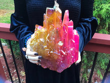 "Load image into Gallery viewer, Aura Quartz Crystal Large 12 Lb. 10 oz. Cluster ~ 9"" Long ~ Sparkling Pink & Bright Yellow ~ Dazzling Iridescent Colors ~ Reiki Display"