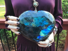 "Load image into Gallery viewer, Labradorite Crystal Large 7 Lb. 7 oz. Heart ~ 8"" Wide ~ Flashy Blue & Gold Rainbow Colors ~ Perfect Gift ~ Altar Display ~ Fast Shipping"
