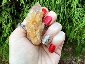 "Elestial Quartz Crystal Cluster Large 1.5 oz. Wand ~ 2 1/2"" Long ~ Natural Tibetan Golden Healer ~ Sparkling Golden Crystal Cascading Points"