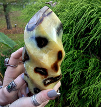 "Load image into Gallery viewer, Septarian Dragon Stone Large 2 Lb. 5 oz. Flame ~ 6"" Tall ~ Sparkling Crystal Display ~ Beautiful Specimen ~ Ancient Reiki, Altar Display"