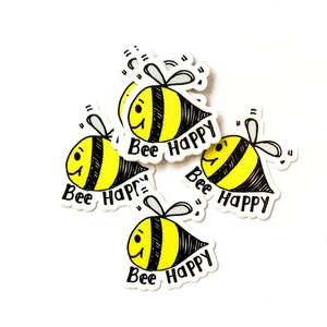 Bee Happy Stickers, Cute Bee Vinyl Sticker