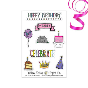 Happy Birthday Sticker Sheet, Vinyl Stickers Variety Set - NEW