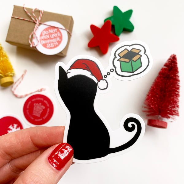 Christmas Cat Wishes, Holiday Sticker 2.67x3in, Waterproof Vinyl Cat Sticker. Wrapping, Laptop, Phone, Bottle, Journal Sticker. Gift Under 5.