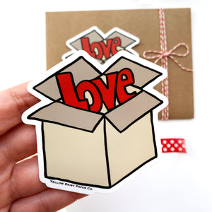 Box of Love 3x3 Vinyl Sticker. Valentine Sticker, Love Sticker, Care Package, Packaging Sticker, NEW
