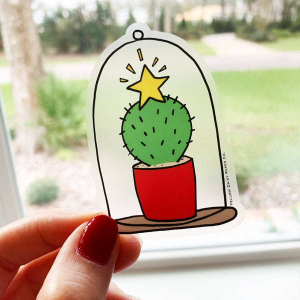 Christmas Cactus Sticker Clear Vinyl Holiday Sticker. Desert Succulent Cactus Sticker. Gift Under 5. Laptop Sticker Holiday. NEW