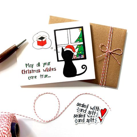 Christmas Wishes Card - Single Card or Set of 8 Cards