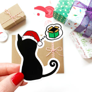 Christmas Cat Wishes, Holiday Sticker 2.67x3in, Waterproof Vinyl Cat Sticker. Wrapping, Laptop, Phone, Bottle, Journal Sticker. Gift Under 5. NEW