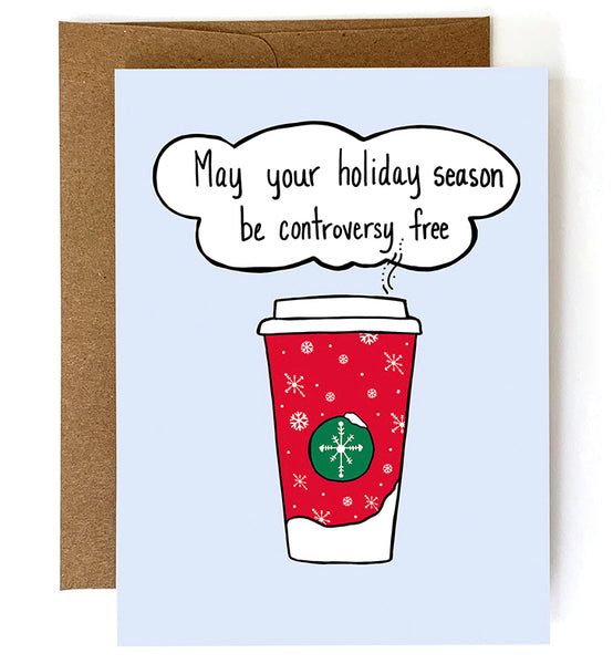 Controversy Free, Funny Christmas Card - Single Card or Set of 8
